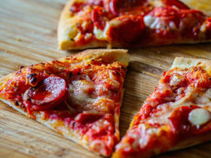 Thin crust pizza slices